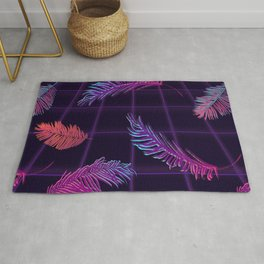 Synthwave Palm Leaves Rug
