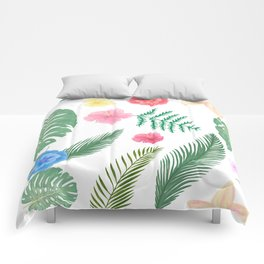 Custom Watercolor  Geographic Palm Leaves, Paint Pattren Comforters