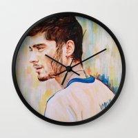 zayn malik Wall Clocks featuring Zayn Malik One Direction by Iván Gabela