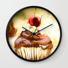Cupcake with cherry Wall Clock