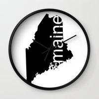 maine Wall Clocks featuring Maine by Isabel Moreno-Garcia