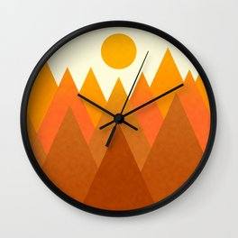 Modern Warming Abstract Geometric Mountains Landscape with Rising Sun in Hot Autumnal Ochre Colors Wall Clock