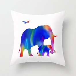 Elephant mom and baby Throw Pillow