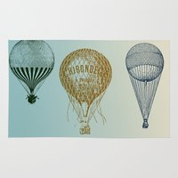 hot air balloons Area & Throw Rugs featuring Colorful Hot Air Balloons by Zen and Chic