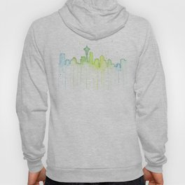 Seattle Skyline Watercolor Space Needle Painting Hoody