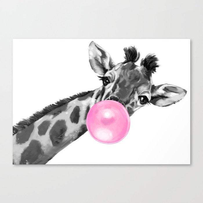 Bubble Gum Black and White Sneaky Giraffee Canvas Print