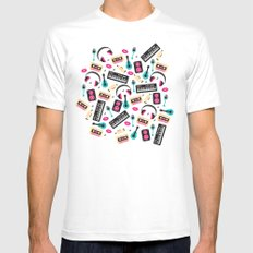 Jazz music instruments and sounds pattern MEDIUM White Mens Fitted Tee