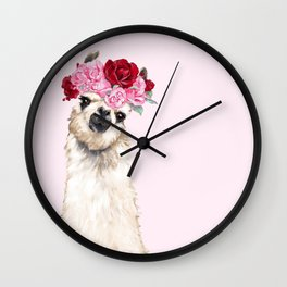 Llama with Pink Roses Flower Crown Wall Clock