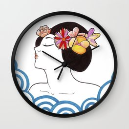 the woman and the sunrise Wall Clock