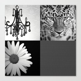 Grayscale Girly Square Collage Canvas Print