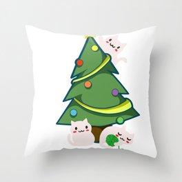 Meowy Christmas Throw Pillow