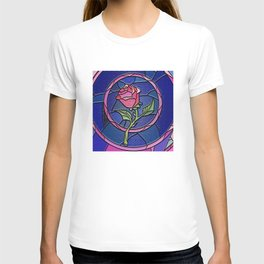 Beauty and the Beast Enchanted Rose Stained Glass T-shirt