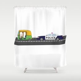 High Speed Chase Shower Curtain