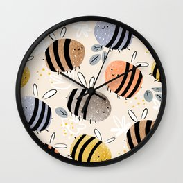 Sweet little baby bees watercolor illustration Wall Clock