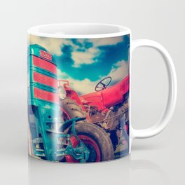 Cool Blue Red Vintage Tractor Coffee Mug