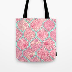 Moroccan Floral Lattice Arrangement in Pinks Tote Bag