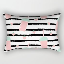 cute lovely pattern background with strawberry smoothies on black brush Rectangular Pillow