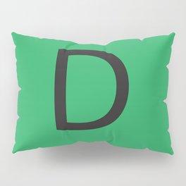 Letter D Initial Monogram - Black on Nephritis Pillow Sham