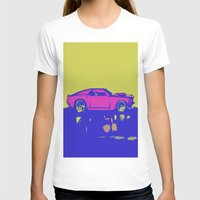 mustang T-shirts featuring lazer mustang by Crockettsky