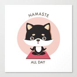 Yoga Shiba Inu Dog Canvas Print