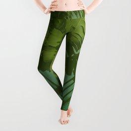 Faux Vintage Tropical Fabric Leggings