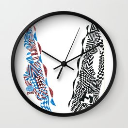Letter V, Black/Red/Blue Abstract (Ink Drawing) Wall Clock