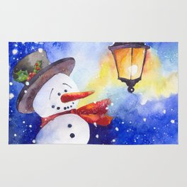 Watercolor snowman in Christmas winter night Rug