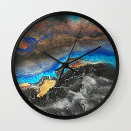 Storm Brewing - Fluid art on canvas Wall Clock