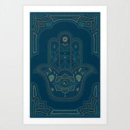Hamsa Hand in Blue and Gold Art Print