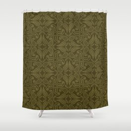 Floral leaf paisley motif running stitch style. Shower Curtain
