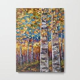 Autumn Aspen Colors Palette Knife Metal Print
