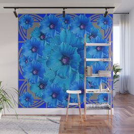 CERALIAN BLUE HOLLYHOCKS ART DECO ABSTRACT Wall Mural