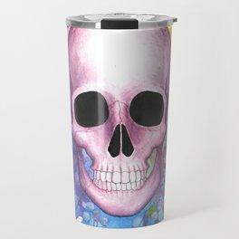 Watercolor Skull Travel Mug