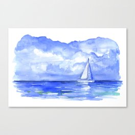 Sailboat on the Ocean Watercolor Canvas Print