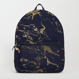 Modern luxury chic navy blue gold marble pattern Backpack