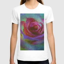 pink rose at sunset impressionist painting T-shirt