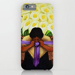 El Vendedor de Alcatraces (Lily Flower Seller with purple sash) by Diego Rivera iPhone Case