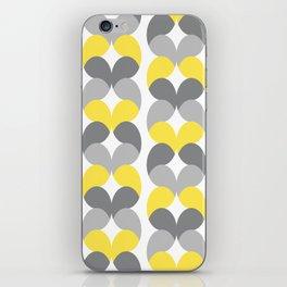 Yellow Gray Hearts vertical ribbons geometrics iPhone Skin