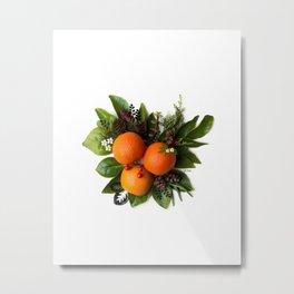 Oranges with Greenery Metal Print