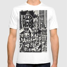Hip Hop White MEDIUM Mens Fitted Tee