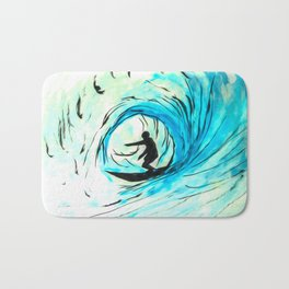 Solo - Surfing the big blue wave Bath Mat
