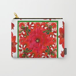 RED AMARYLLIS FLOWERS & HOLIDAY CANDY CANE FLORAL ART Carry-All Pouch