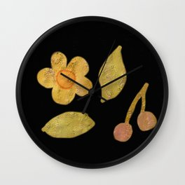 Golden cherries and flowers on black background Wall Clock