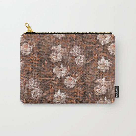 """White roses"" hand drawn vintage floral pattern in earth colors Carry-All Pouch"