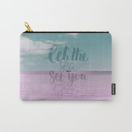 Let the Sea set you Free- Pink Summer Beach Sea Ocean Nature on #Society6 Carry-All Pouch