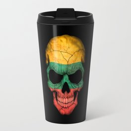 Dark Skull with Flag of Lithuania Travel Mug