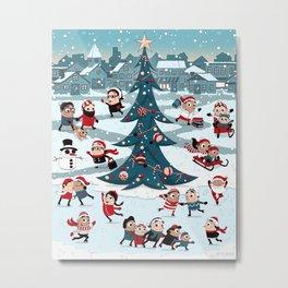Christmas Skating Metal Print