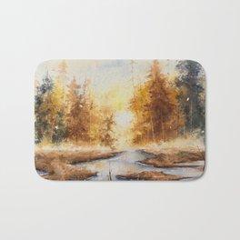 Autumn Watercolor Bath Mat