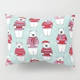 Polar Bear character cute christmas sweater polar bears nature illustration pattern Pillow Sham