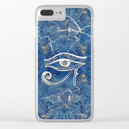 Silver Egyptian Eye of Horus  on blue marble Clear iPhone Case